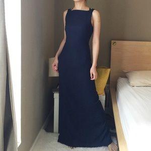 Nicole Miller Navy Blue Silky Midi Dress.-G4.